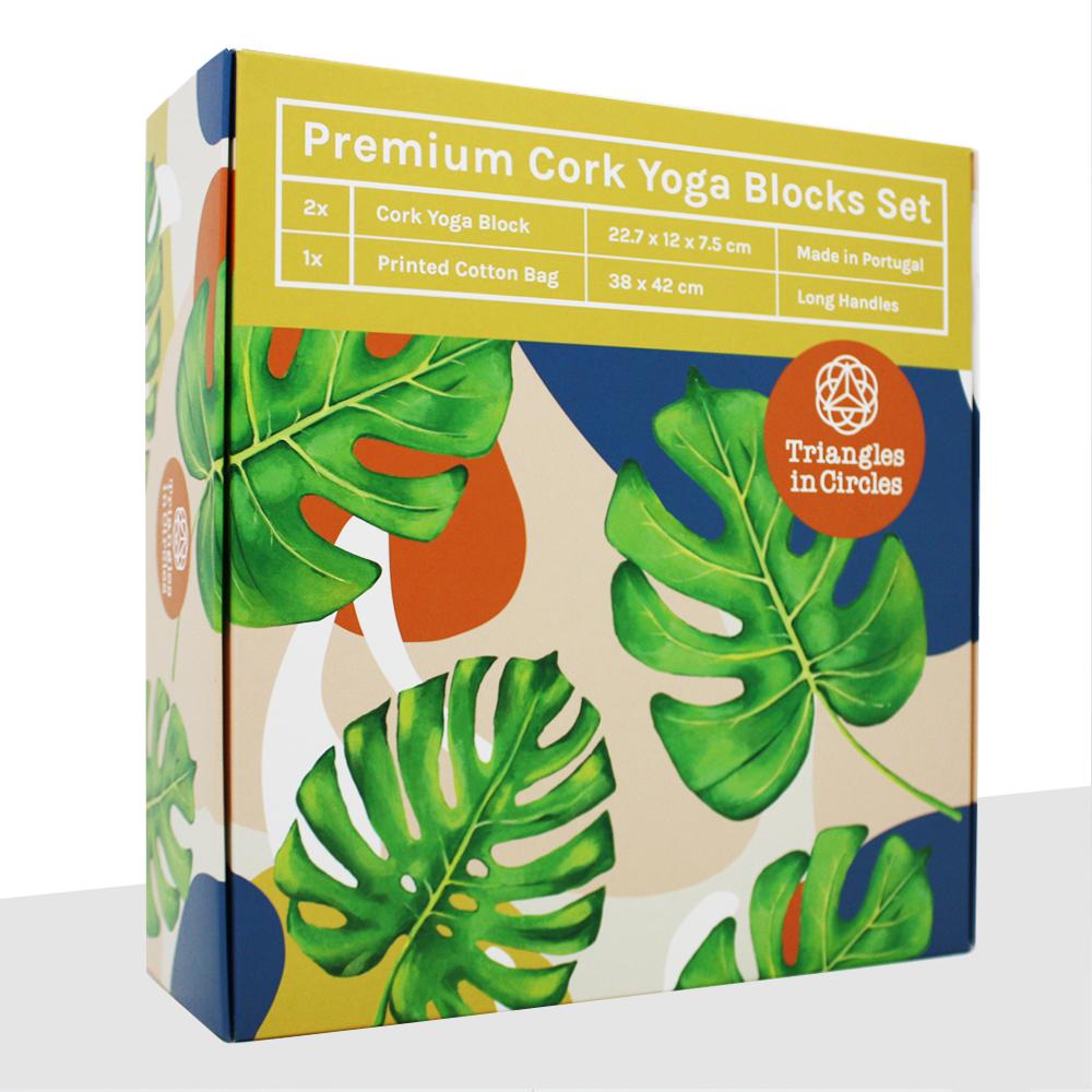 Schöne Kork Yoga Block Set Verpackung mit Blättern